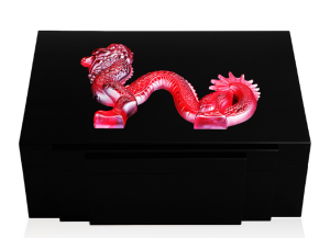 DRAGON CIGARS BOX IN BLACK LACQUERED RED 100ct 88 pieces L.E