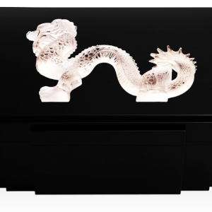 Lalique Dragon Cigar Humidor in Black Lacq 100ct