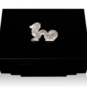 Dragon Humidor Small Clear Glass Black Lacq. 45ct