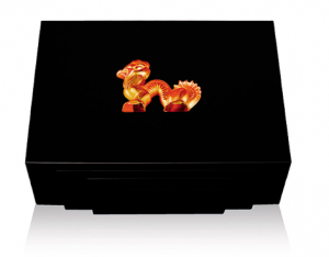 Lalique Small Amber Crystal Humidor 45ct Black