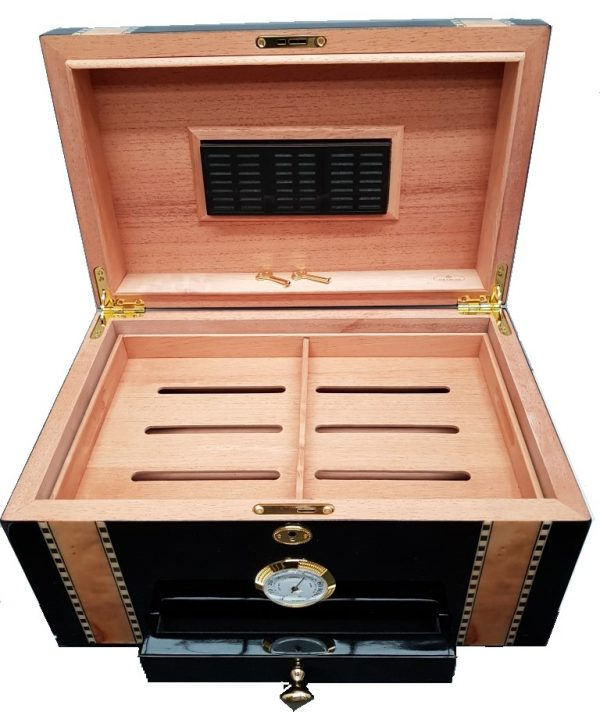 Ebony and Bird Eye Maple Inlay Humidor wAccessory drawer 50 to 75ct