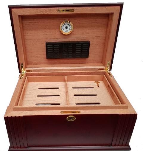 Walnut Antique Style Art Deco Cigar Humidor 75ct.