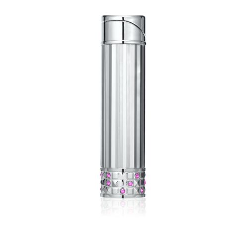 ALLURE SOFT FLAME LADIES LIGHTER Polished Chrome & Pink Crystals