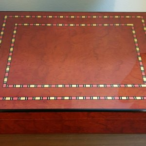 Cigar Humidor Cherry Burl with Inlay